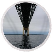 Under The Mackinac Bridge Round Beach Towel