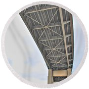 Round Beach Towel featuring the photograph Under The Skyway by Michael Frank Jr