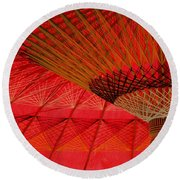 Round Beach Towel featuring the photograph Under The Umbrella by Nola Lee Kelsey