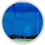 Round Beach Towel featuring the photograph Underneath- My Fears by Janie Johnson