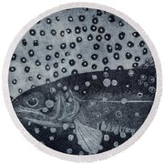 Unique Etching Artwork - Brown Trout  - Trout Waters - Trout Brook - Engraving Round Beach Towel