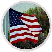 United States Of America Round Beach Towel