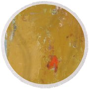 Untitled Abstract - Ochre Cinnabar Round Beach Towel