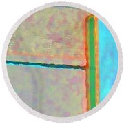 Round Beach Towel featuring the digital art Up And Over by Richard Laeton