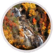 Upper Whitewater Falls Round Beach Towel by Lynne Jenkins
