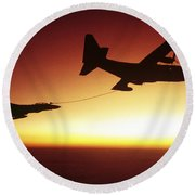U.s. Navy F-14a Tomcat Aerial Refueling Round Beach Towel
