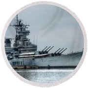 Uss New Jersey Round Beach Towel