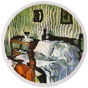 Round Beach Towel featuring the painting Van Gogh's Bedroom by Mario Carini
