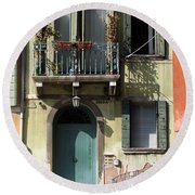 Round Beach Towel featuring the photograph Venetian Doorway by Carla Parris