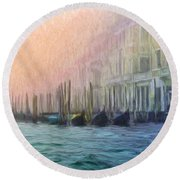 Venetian Gondolas Round Beach Towel