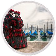 Round Beach Towel featuring the photograph Venice Carnival Mask by Luciano Mortula