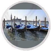 Round Beach Towel featuring the photograph Venice Gondolas by Rebecca Margraf