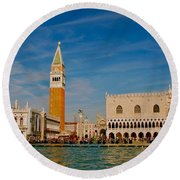 Round Beach Towel featuring the photograph Venice's Front Door by Eric Tressler