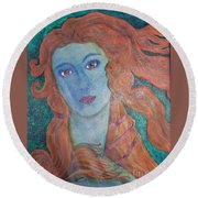 Round Beach Towel featuring the painting Venus's Haze by Lucia Grilletto