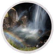 Vernal Falls Rainbow On Mist Trail Yosemite Np Round Beach Towel