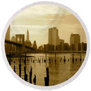 View From Brooklyn Bridge Park Round Beach Towel