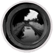 Round Beach Towel featuring the photograph View From The Bridge by Nina Prommer