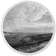 Round Beach Towel featuring the photograph View From The Hill Columbia River by Kathleen Grace