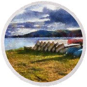 Round Beach Towel featuring the painting View Of The Lake From Camp Dorset by Mario Carini
