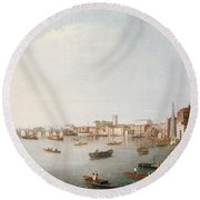 View Of The River Thames From The Adelphi Terrace  Round Beach Towel by William James
