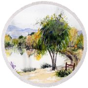View Outside Reno Round Beach Towel by Vicki  Housel