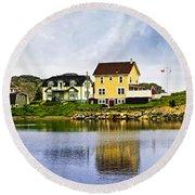 Village In Newfoundland Round Beach Towel