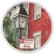 Village Lamplight Round Beach Towel