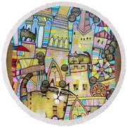 Villages Of My Childhood Round Beach Towel