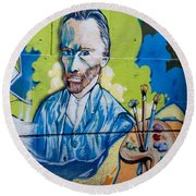 Vincent On The Wall Round Beach Towel by Carol Ailles