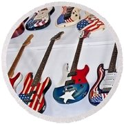 Round Beach Towel featuring the photograph Vintage American Flag Guitars Art Prints by Valerie Garner