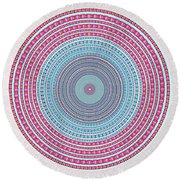Vintage Color Circle Round Beach Towel