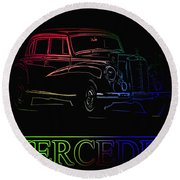 Round Beach Towel featuring the photograph Vintage Mercedes by George Pedro
