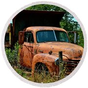 Round Beach Towel featuring the photograph Vintage Old Time Truck by Peggy Franz