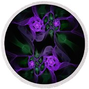 Violet Floral Edgy Abstract Round Beach Towel