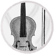 Violin And Bow Round Beach Towel