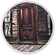 Virginia City Ghost Town Door I Round Beach Towel