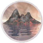 Round Beach Towel featuring the digital art Volcano Island by Phil Perkins