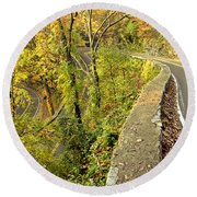 W Road In Autumn Round Beach Towel
