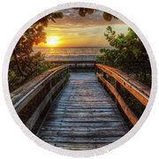 walkway to Paradise Round Beach Towel by Nick  Shirghio