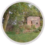 Round Beach Towel featuring the photograph Walnut Grove School Ruins by Bonfire Photography