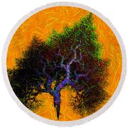 Was A Crooked Tree  Grunge Art Round Beach Towel by Richard Ortolano