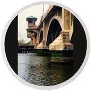 Washington Bridge Round Beach Towel by John Scates