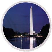 Washington Monument At Sunset Round Beach Towel