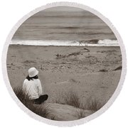 Watching The Ocean In Black And White Round Beach Towel