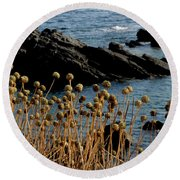 Round Beach Towel featuring the photograph Watching The Sea 1 by Pedro Cardona