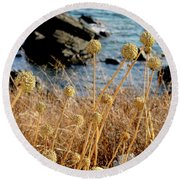 Round Beach Towel featuring the photograph Watching The Sea 2 by Pedro Cardona