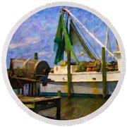 Watching Within A Frame Round Beach Towel