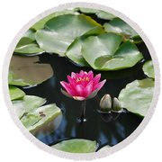 Round Beach Towel featuring the photograph Water Lilies by Jennifer Ancker