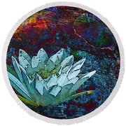 Water Lily Abstract Round Beach Towel by Phyllis Denton