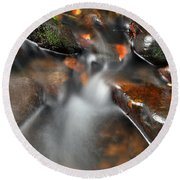 Round Beach Towel featuring the photograph Water Over Rocks by Kay Lovingood